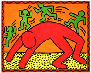 Keith-Haring-1982-Email-et-dayglo-sur-metal